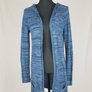 MD Blue Knit Hooded Sweater Pockets Cover Long